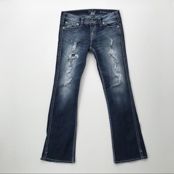 "885dea59 Silver Jeans | Frances 18"" Bootcut Destroyed Denim.  M_5cb89bf38d653db3b17e7124"